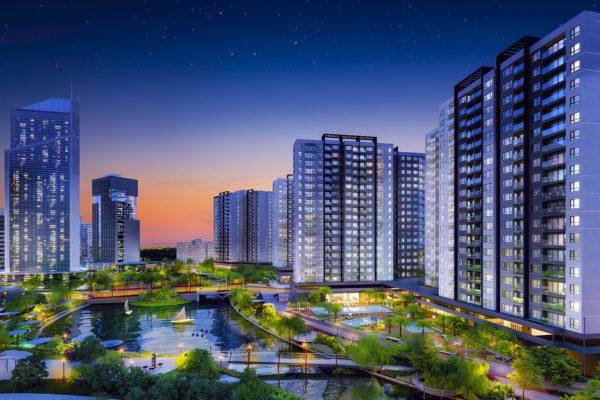 Phối cảnh về đêm đáng mơ ước của Khu đô thị Mizuki Park. Ảnh Nam Long HCM