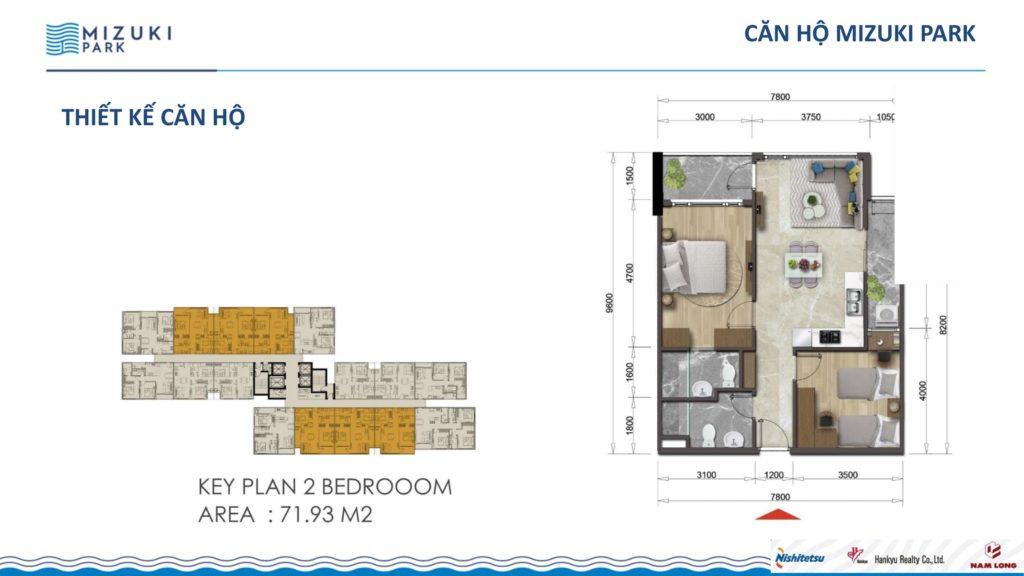 Mặt bằng căn hộ 2 PN-2WC Mizuki Park 1-2