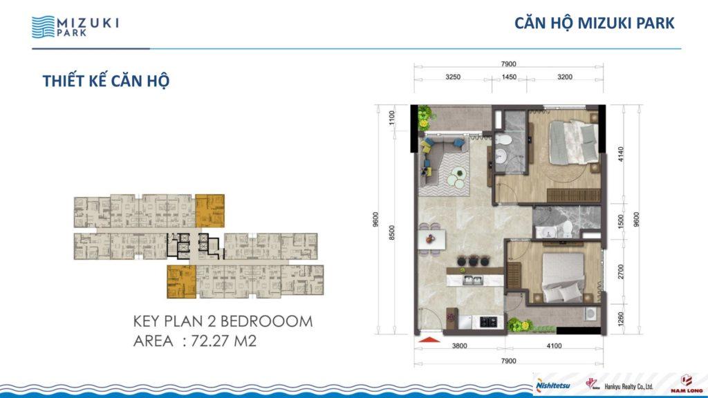 Mặt bằng căn hộ Flora Mizuki 2 phòng ngủ 72,27m2