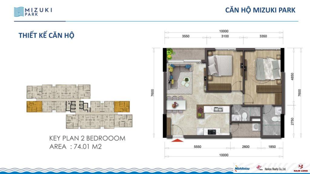 Mặt bằng căn hộ FLora Mizuki 2 PN 74,01m2