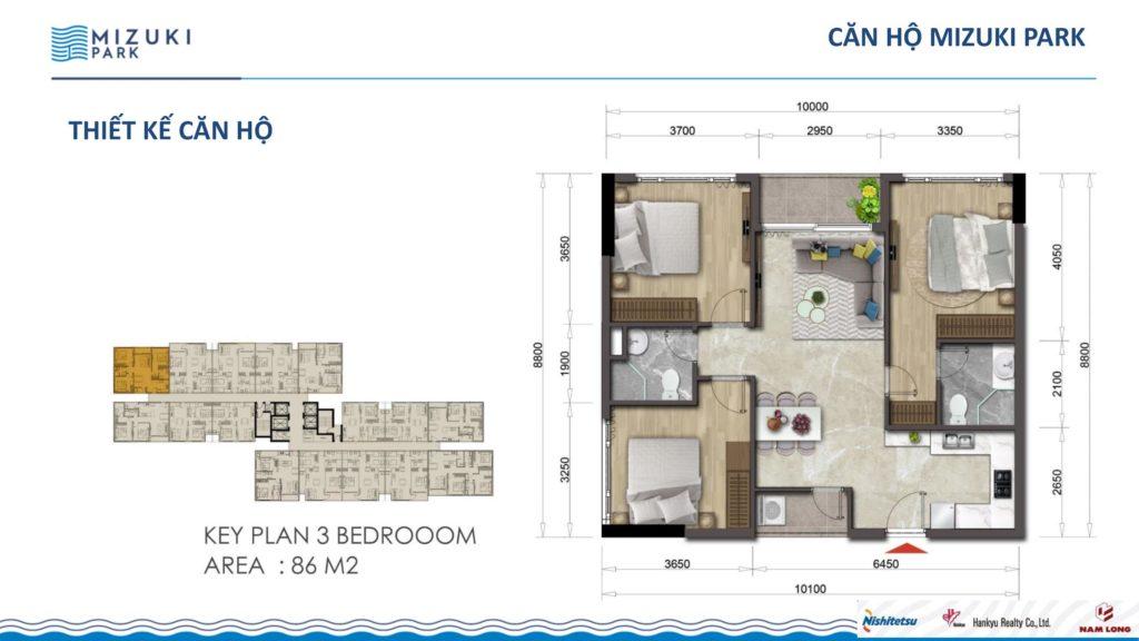 Mặt bằng căn hộ Flora Mizuki 3PN 86m2