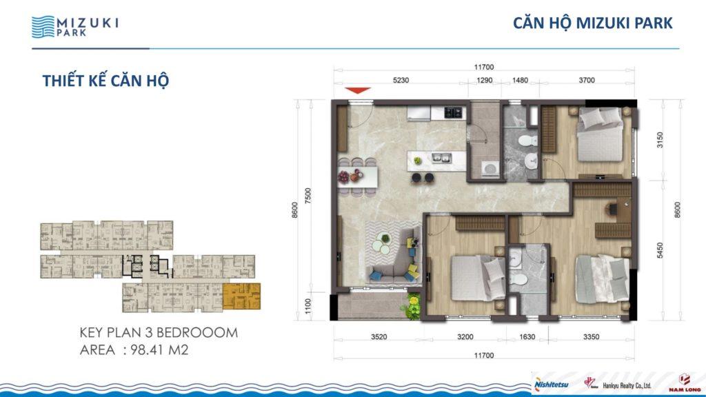 Mặt bằng căn hộ Flora Mizuki 3PN 92,41m2