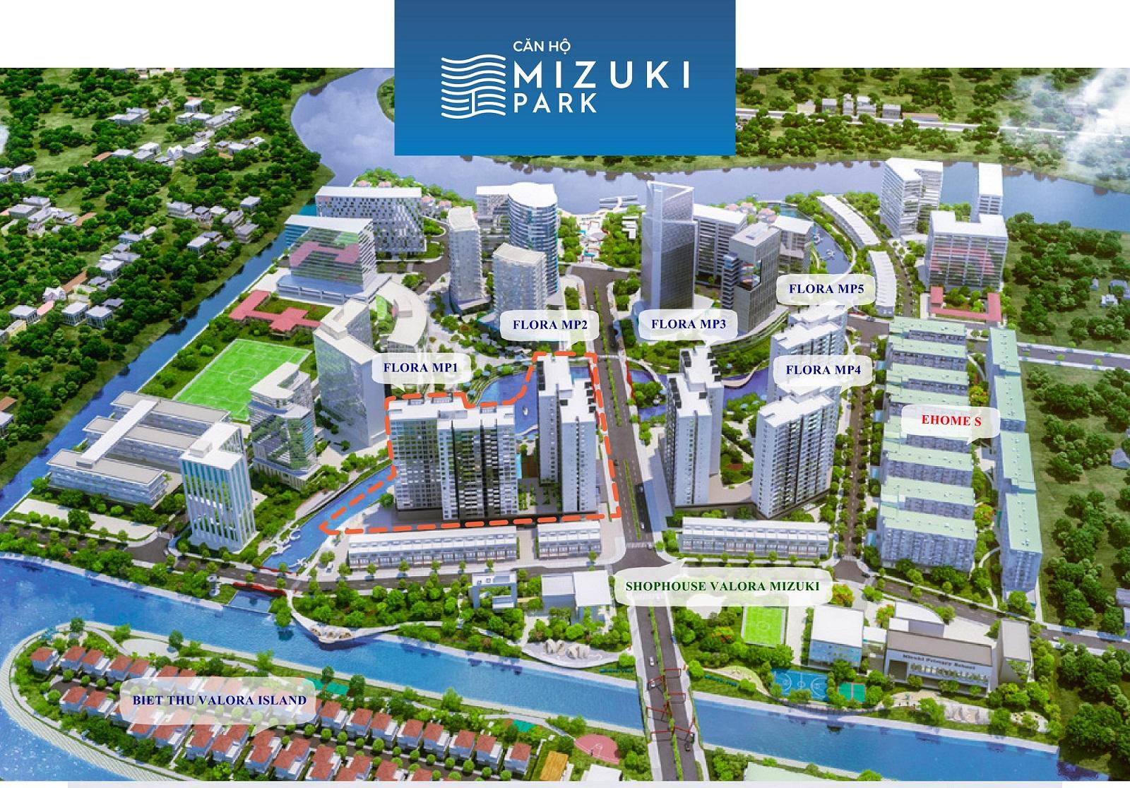 Khu đô thị Mizuki Park với qui mô 26 ha được bao bọc bởi 17.000m2 kênh đào nhân tạo. Ảnh Nam Long hcm