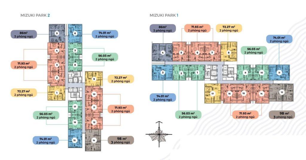 Mặt bằng Mizuki Park 1 và Mizuki Park 2.