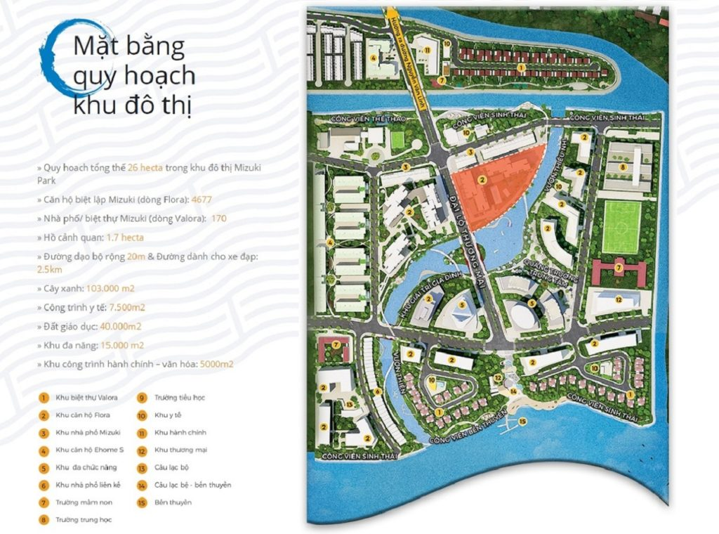 Mặt bằng quy hoạch khu đô thị Mizuki Park