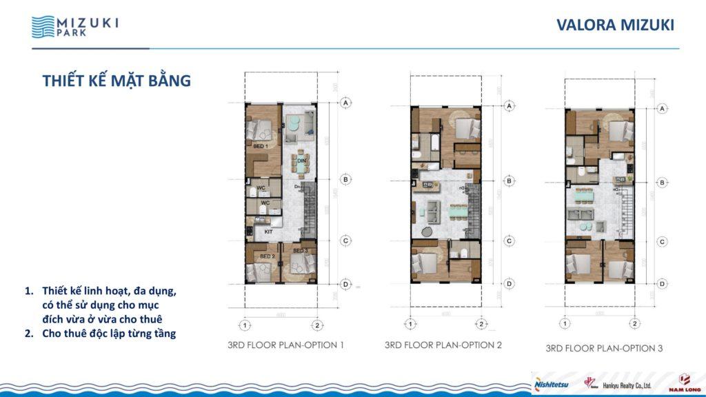 Thiết kế mặt bằng tầng 3 Valora Mizuki. Nam Long Hcm