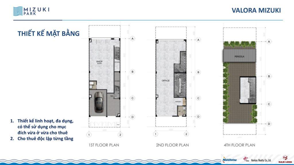Thiết kế mặt bằng tầng 1,2,4 của Valora Mizuki. Nam Long Hcm