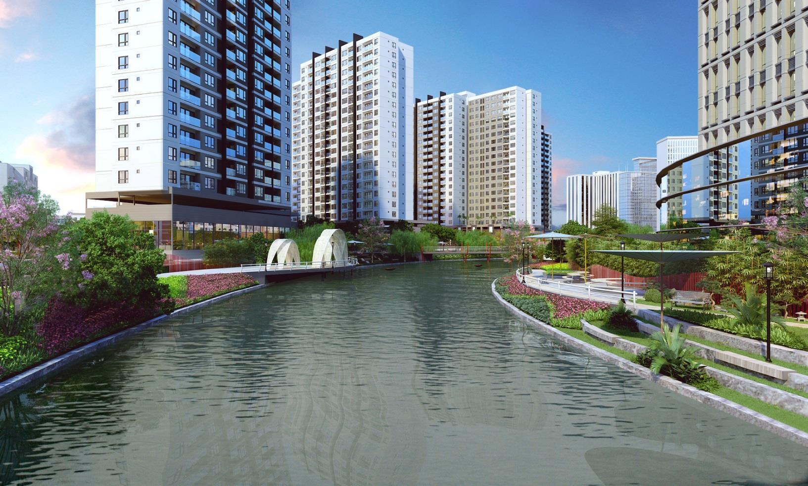 Kênh Đào nhân tạo tai dự án Mizuki Park Bình Chánh.