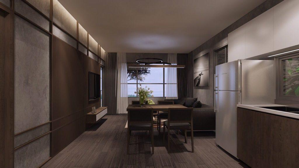 Nhà mẫu Mizuki Park - Phòng khách và bếp căn hộ Flora Mizuki.