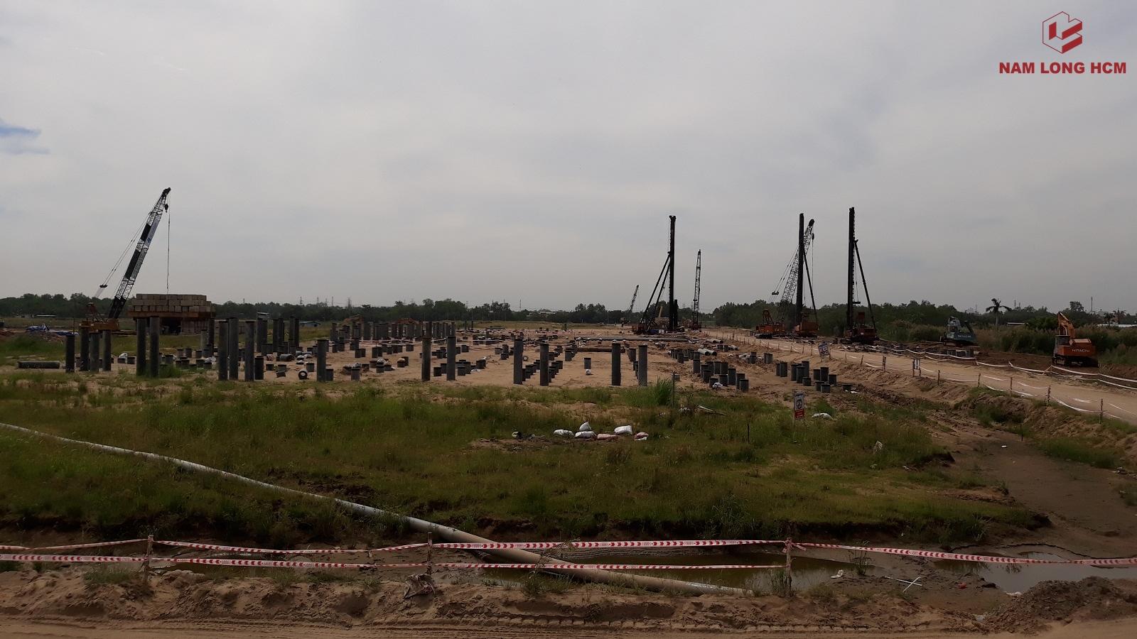 Các Block Ehome S Nam Long Bình Chánh còn lại, đơn vị xây dựng đang tiến hành thi công phần móng cọc. Ảnh: Nam Long HCM