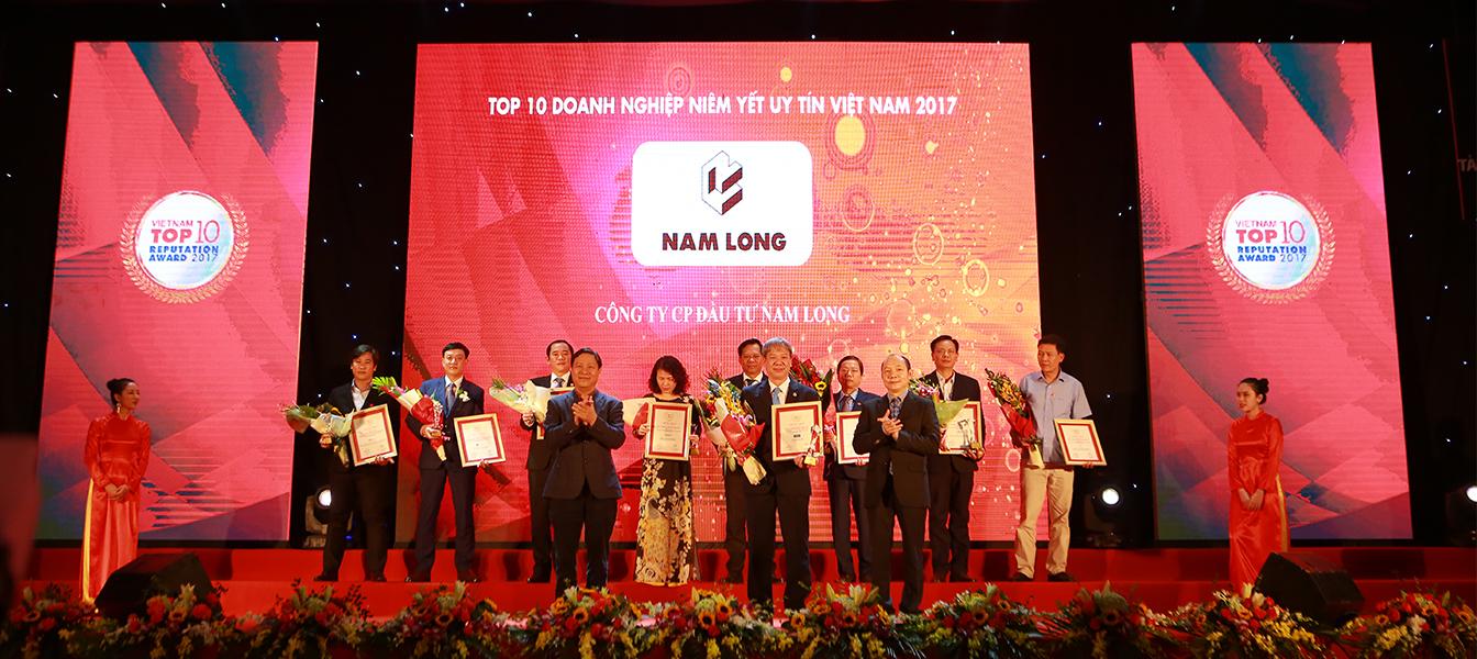 Nam Long vinh dự nhận giải thương danh giá TOP 10 Doanh nghiệp Niêm yết Uy tín Việt Nam năm 2017