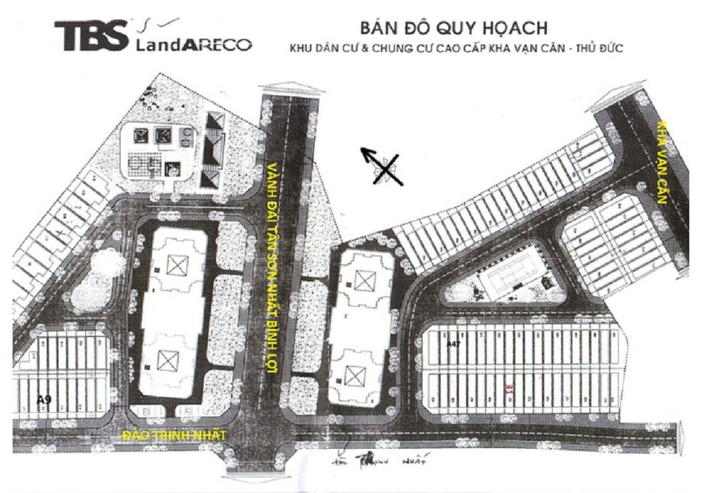 Bản đồ quy hoạch khu dân cư Areco. Nam Long mua lại 1 phần dự án để triển khai dự án Flora Iris Thủ Đức