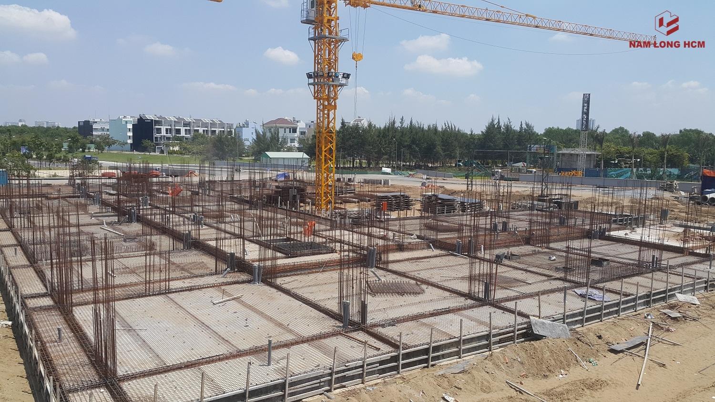 Block A - Dự án Ehome S Nam Long Bình Chánh đang thi công sàn tầng trệt và kết cấu thép. Ảnh: Nam Long HCM