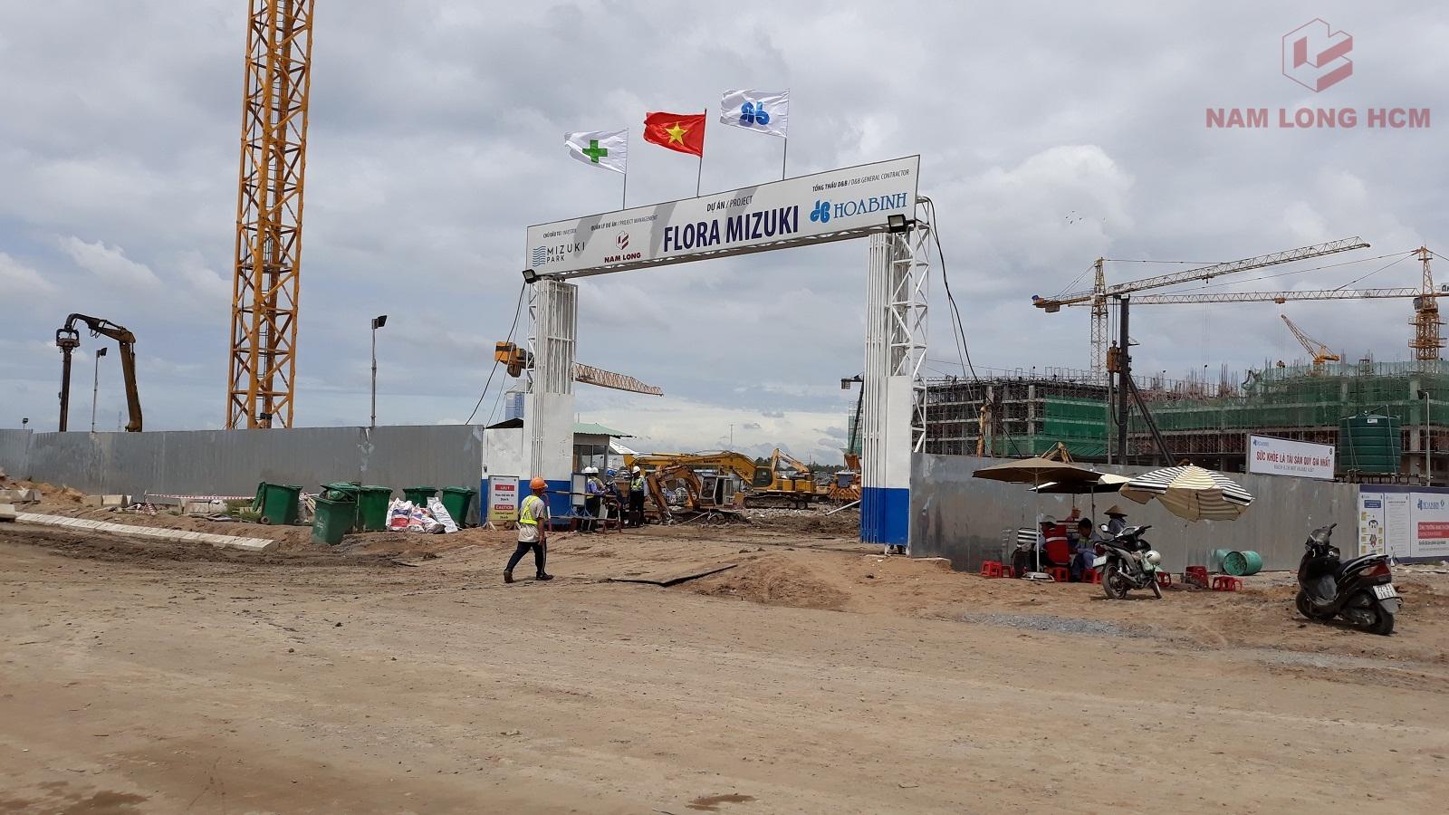 Nhà thầu Hòa Bình đang triển khai thi công hầm cho 5 Block Mizuki Park. Ảnh: Nam Long HCM