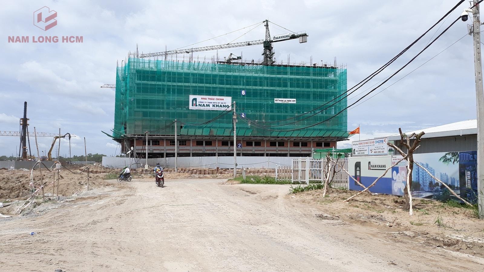 Block B dự án Ehome S - Nam Long Bình Chánh đang thi công tới sàn tầng 8 và 1 phần sàn tầng 9. Ảnh: Nam Long HCM