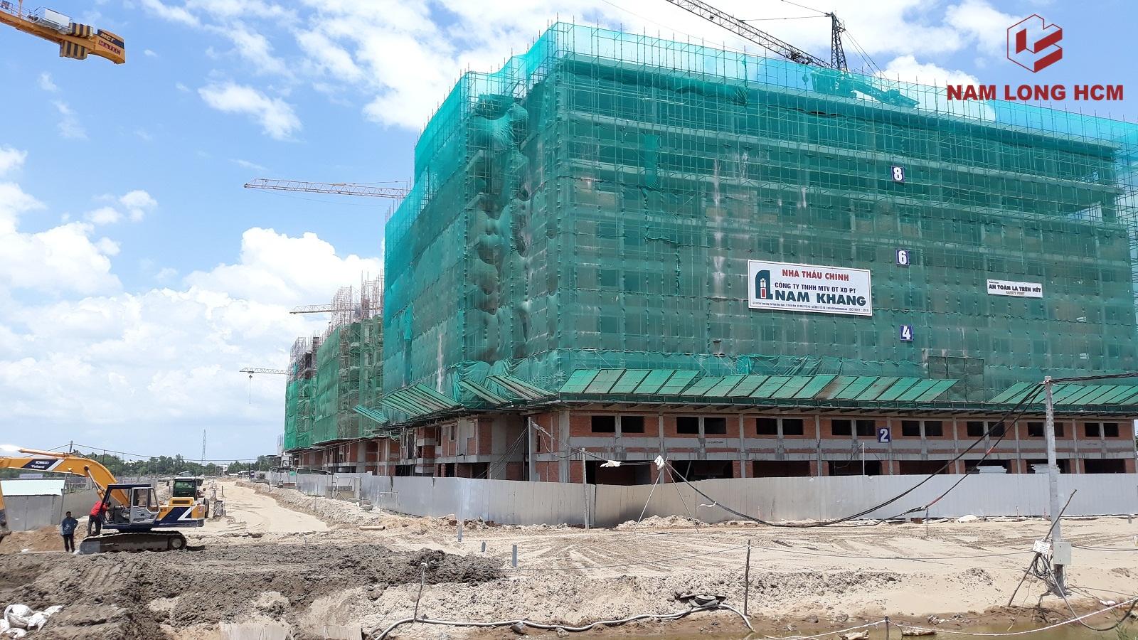 Tiến độ xây dựng Block B - Ehome S Bình Chánh. Nhà thầu đang thi công sàn tầng 10. Ảnh: Nam Long HCM