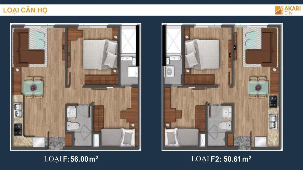 Thiết kế căn hộ 2PN-1WC dự án Akari City - Nam Long Bình Tân