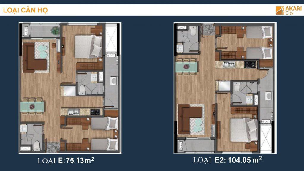 Thiết kế căn hộ 2PN-2WC dự án Akari City Bình Tân