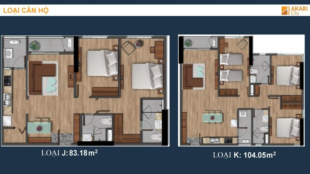 Thiết kế căn hộ 3PN dự án Akari City - Nam Long Bình Tân