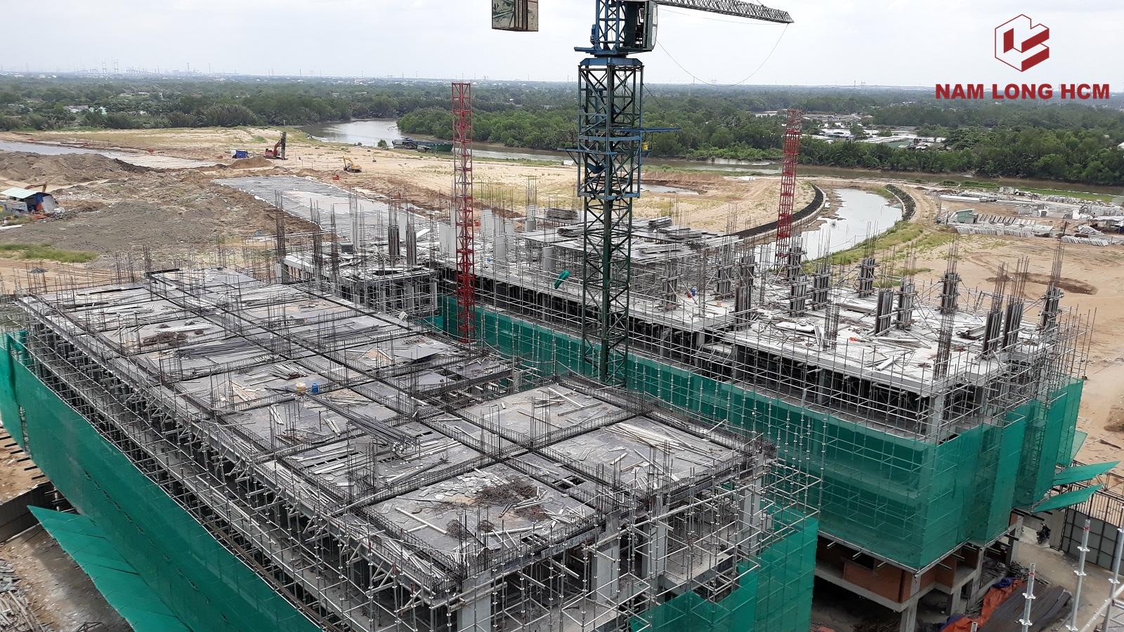 Block H đang đang thi công sàn tầng 6 - Dự án Ehome Mizuki Bình Chánh. Ảnh: Nam Long HCM
