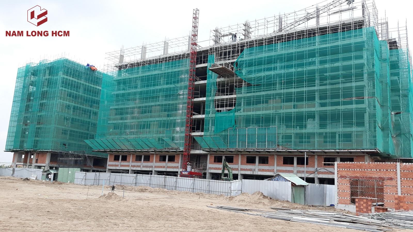 Block H và 1 phần Block G đang triển khai thi công phần kết cấu. Trên ảnh - Block G đang thi công tầng 9. Ảnh: Nam Long HCM