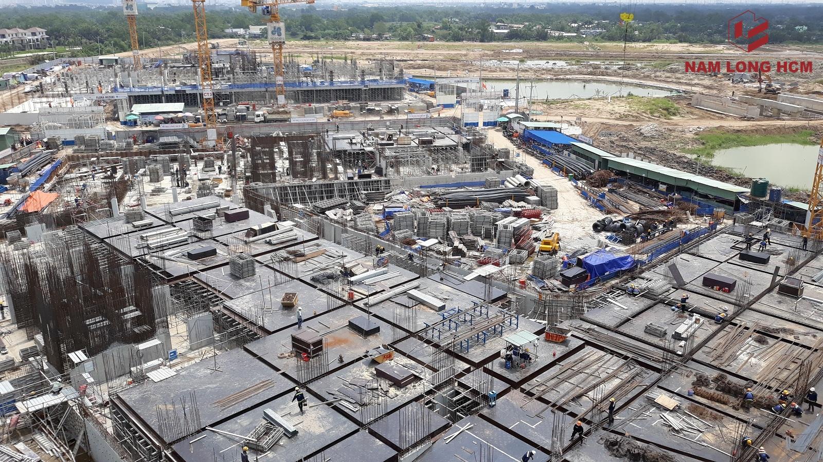 Hình ảnh công trường xây dựng 5 Block dự án Flora Mizuki Park. Ảnh: Nam Long HCM