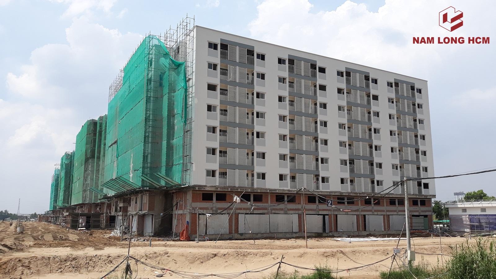 Hầu hết các Block Ehome S Bình Chánh đã thi công xong phần kết cấu và đang tiến hành hoàn thiện. Ảnh: Nam Long HCM