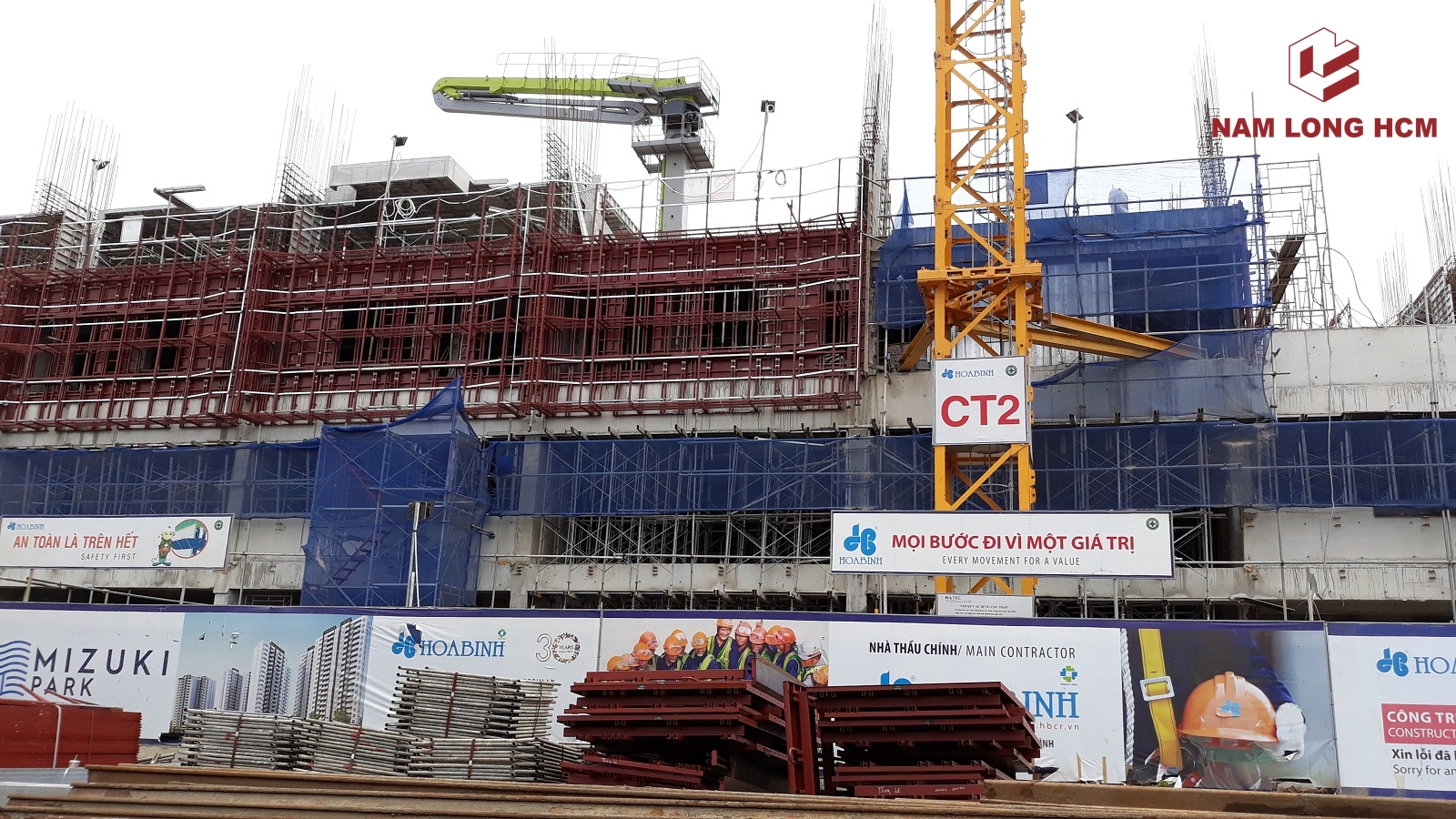Cận cảnh công trường Block MP1 - MP2 dự án Flora Mizuki Bình Chánh. Ảnh: Nam Long HCM