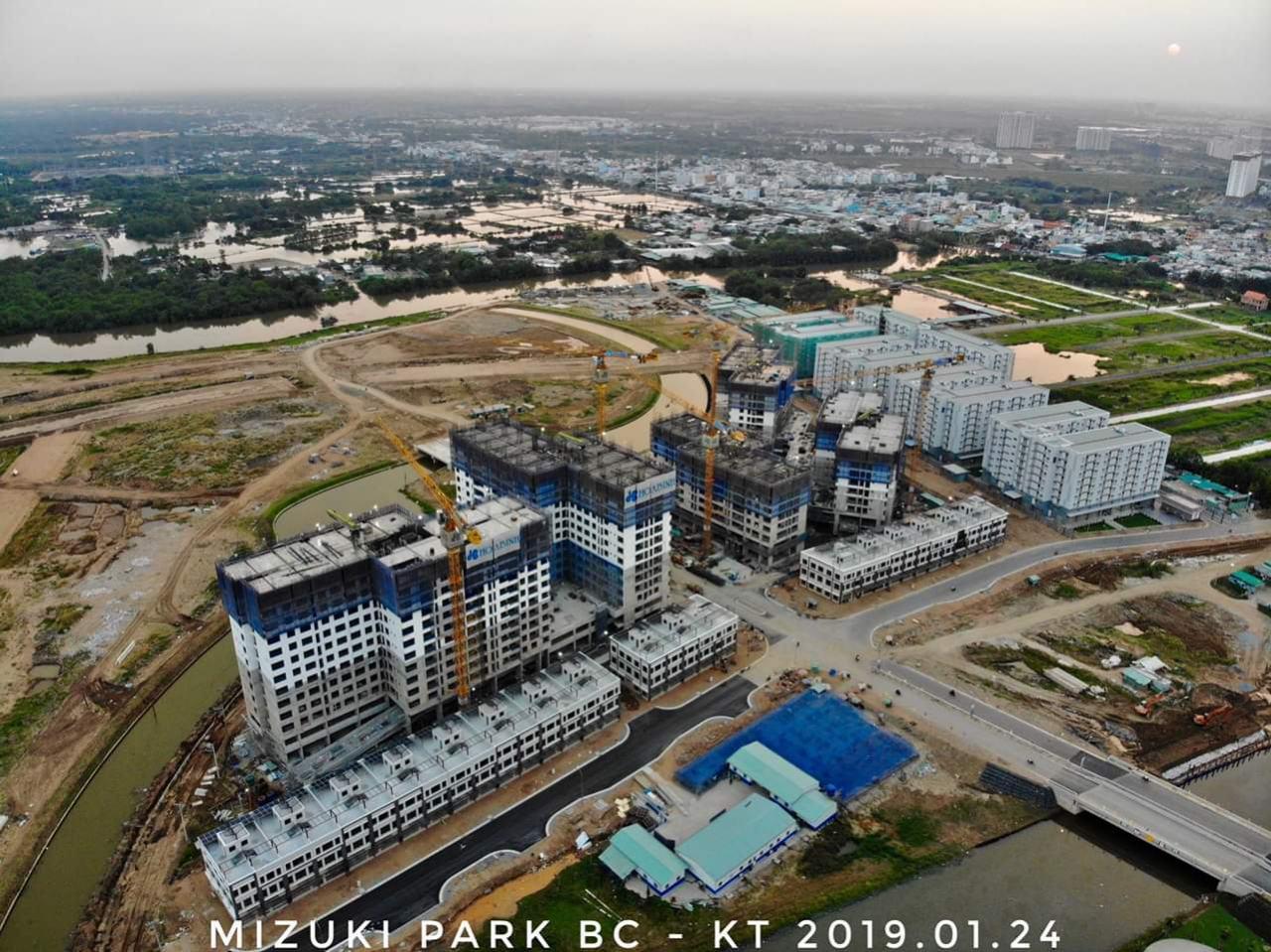 Cận cảnh tiến độ xây dựng dự án Flora Mizuki Bình Chánh Tháng 01/2019.