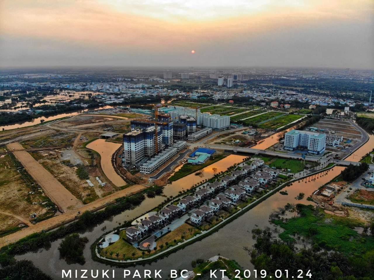 Toàn cảnh tiến độ xây dựng Khu đô thị Mizuki Park Bình Chánh Tháng 01/2019