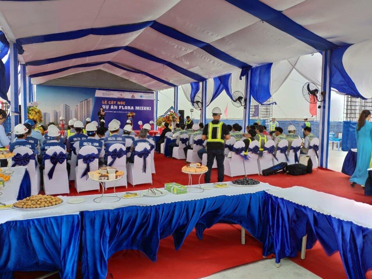 Ngày 04/04/2109, Chủ đầu tư Nam Long tổ chức lễ cất nóc dự án Flora Mizuki cụm 1A