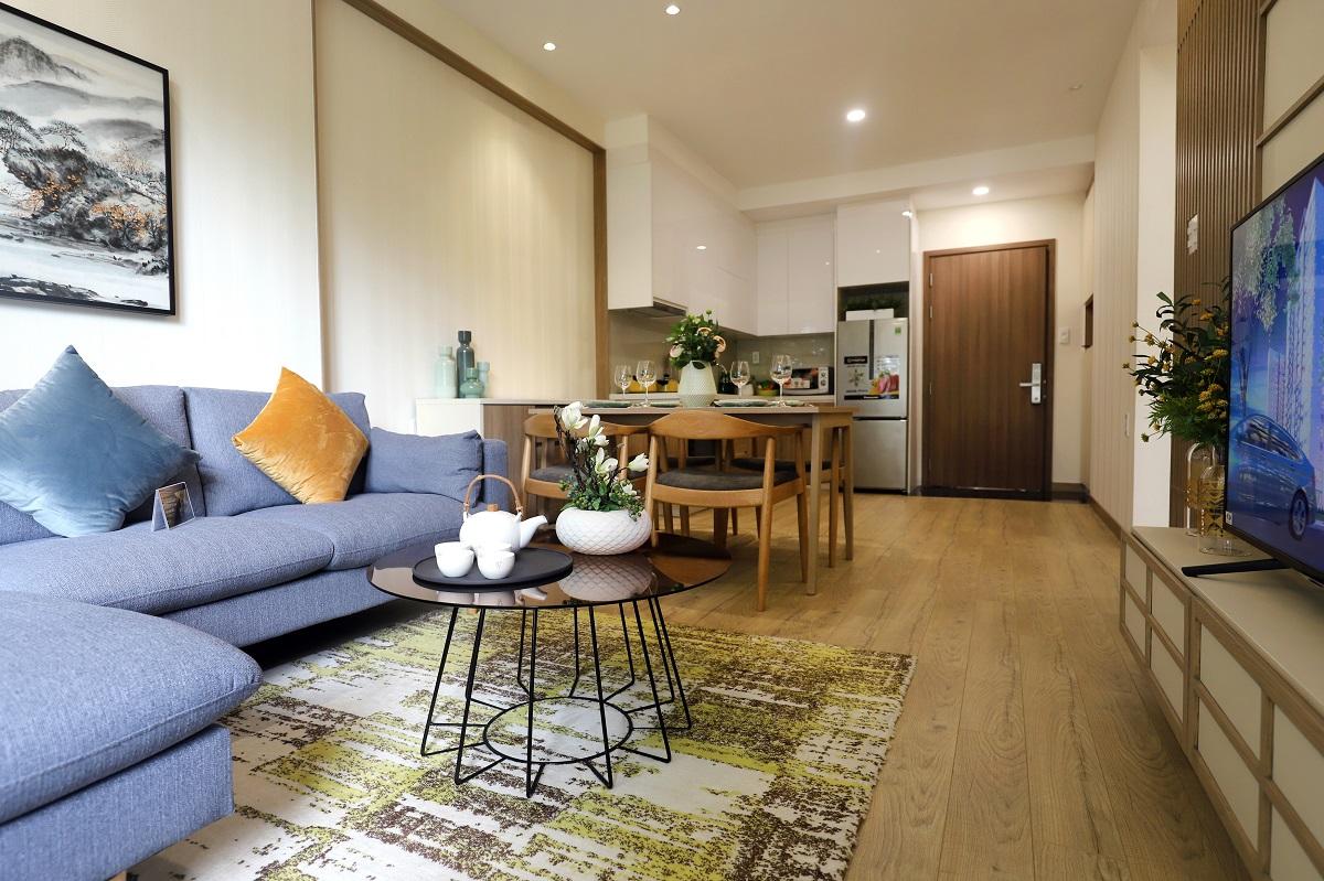 Phòng khách căn hộ mẫu Akari City Bình Tân - 56m2 (2PN-1WC)