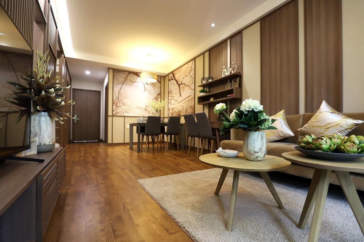 Phòng khách căn hộ mẫu 75m2 dự án Akari City Bình Tân