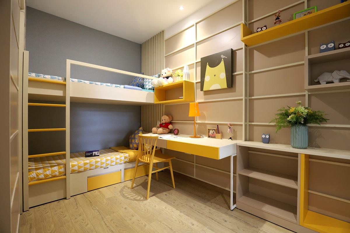 Phòng ngủ nhỏ căn hộ mẫu 56m2 Akari City Bình Tân