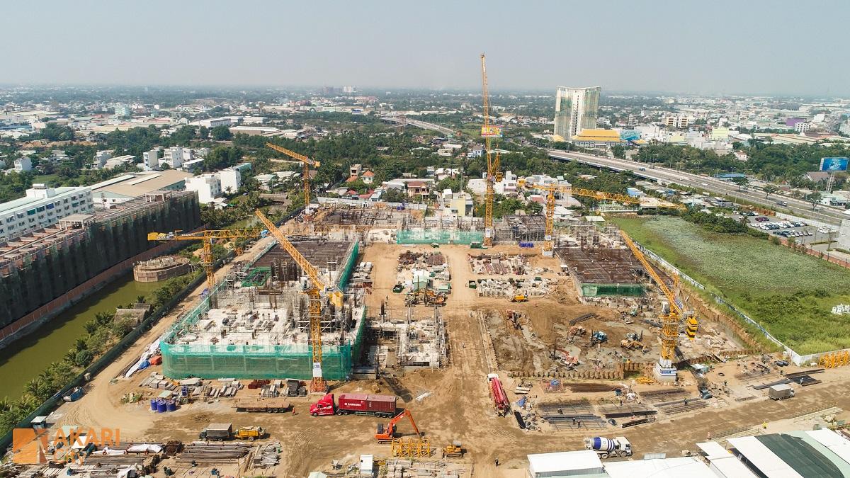 Toàn cảnh công trường xây dựng dự án Akari City Bình Tân Giai đoạn 1.